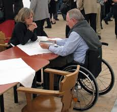 Person with disability studying